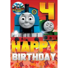 4th Birthday Thomas & Friends Birthday Card With Badge