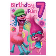 7th Birthday Trolls Birthday Card