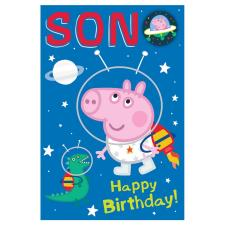 Son Peppa Pig Birthday Card with Badge