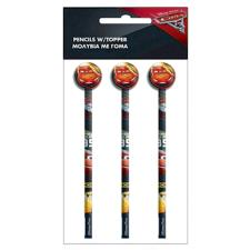 Disney Cars Set of 3 Pencils with Eraser Toppers