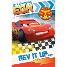 Champion Son Disney Cars Birthday Card With Badge