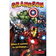 Grandson Marvel Avengers Birthday Card With Badge
