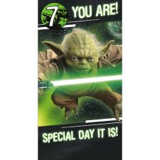 You Are 7 Yoda Star Wars Birthday Card With Badge
