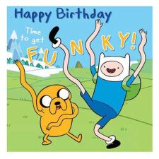 Time To Get Funky Adventure Time Birthday Card