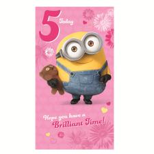 5 Today Pink Minions 5th Birthday Card
