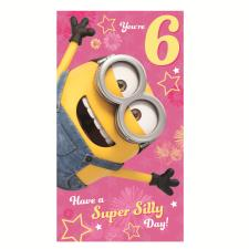 6 Today Pink Minions 6th Birthday Card