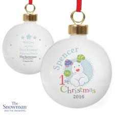 Personalised The Snowdog My 1st Christmas Blue Bauble