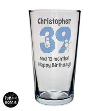 Personalised Purple Ronnie Big Age Male Straight Sided Pint Glass