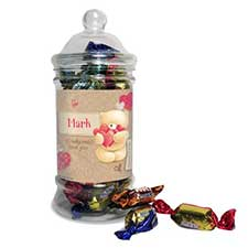 Personalised Forever Friends Love Heart 250g Toffee Jar