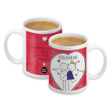 Personalised Purple Ronnie Heart Couple Mug