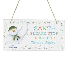 Personalised The Snowman Santa Stop Here Wooden Sign
