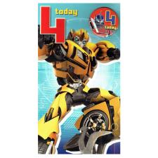 4th Birthday Transformers Birthday Card with Badge