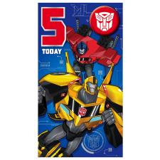 5 Today Transformers Birthday Card with Badge