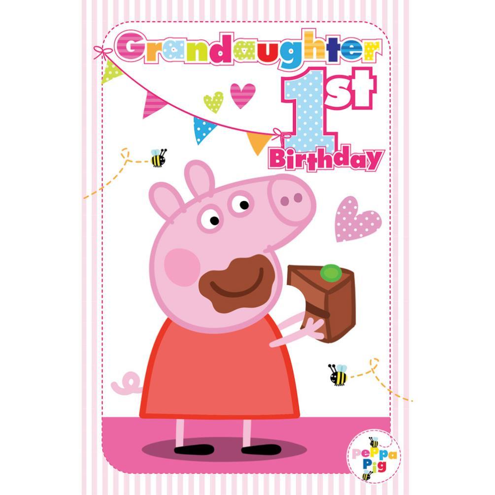 1st Birthday Granddaughter Peppa Pig Birthday Card 217483