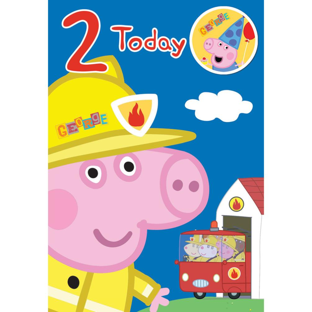 2 Today George Peppa Pig Birthday Card With Badge
