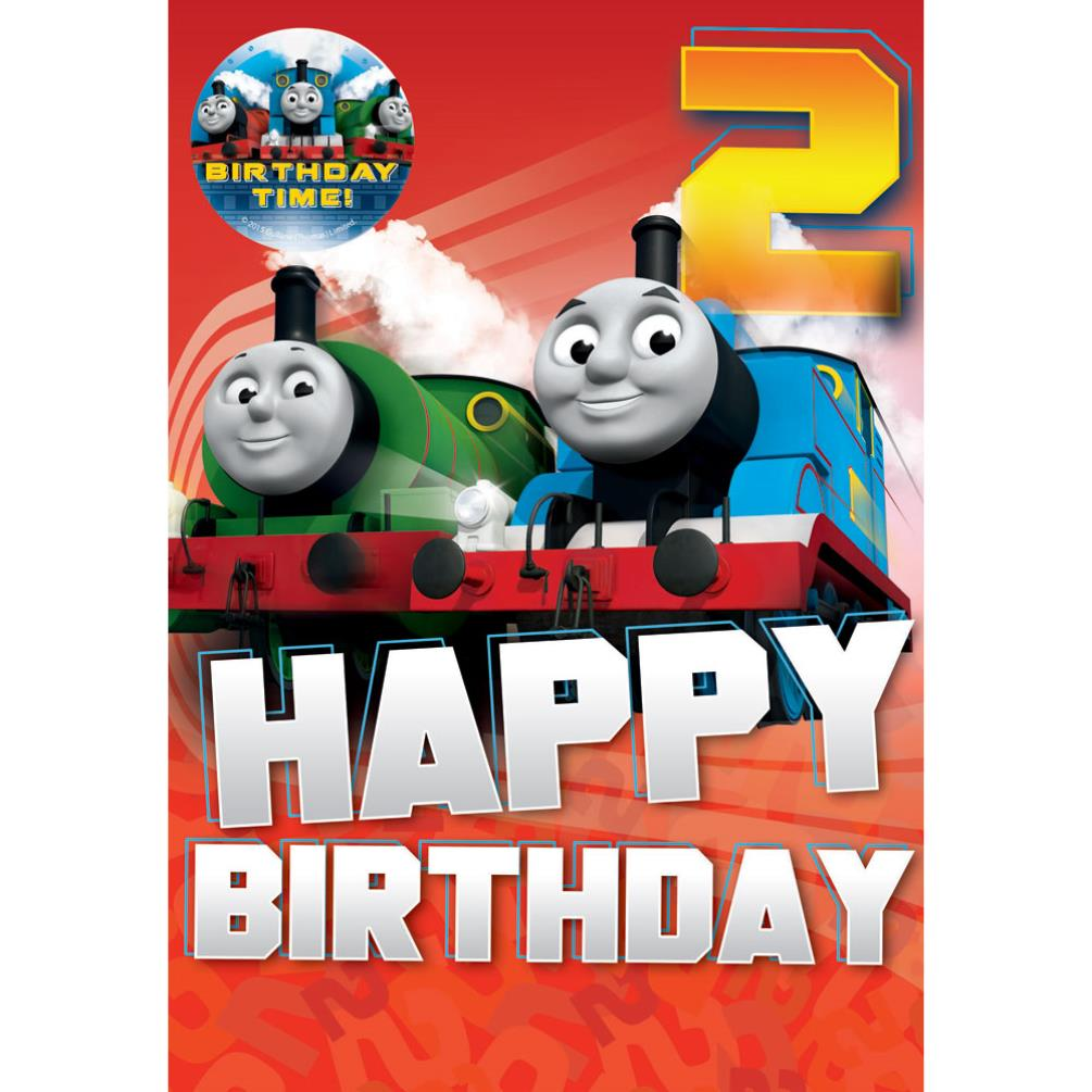 2nd Birthday Thomas Friends Card With Badge