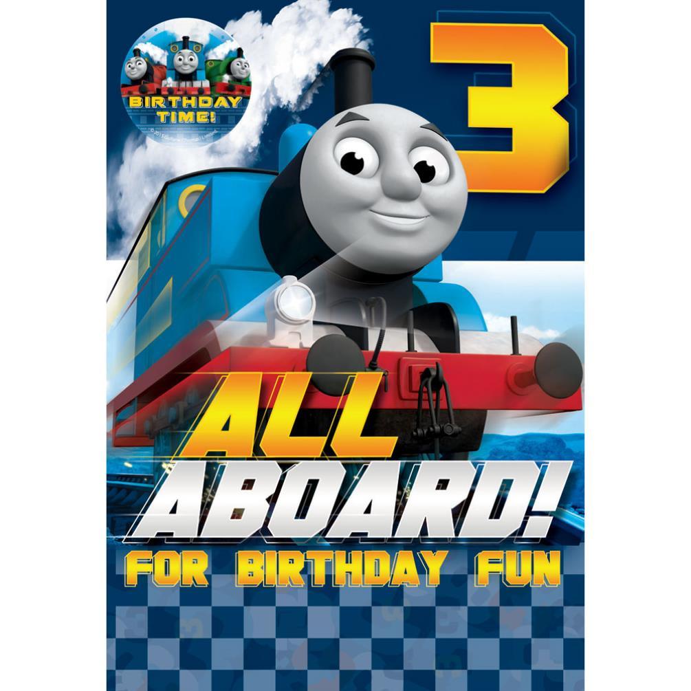 3rd Birthday Thomas & Friends Birthday Card With Badge ...