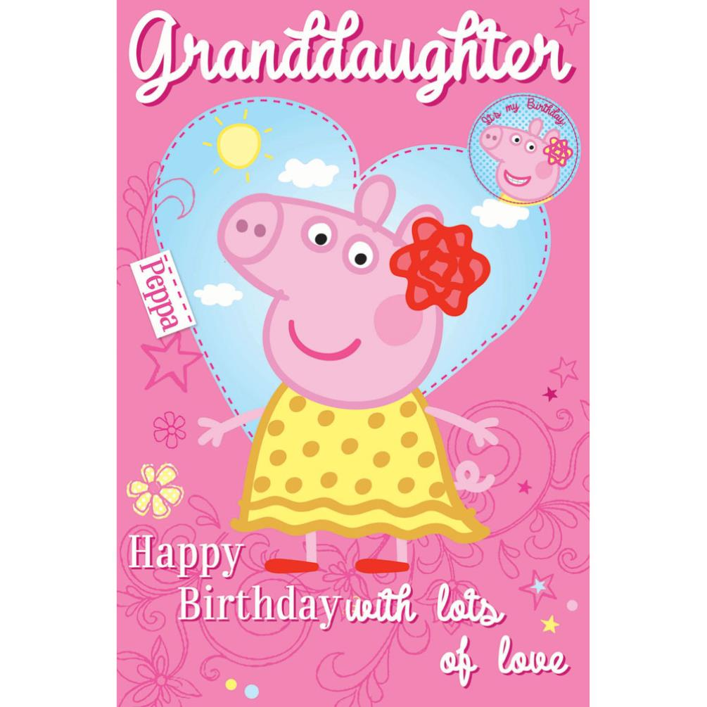 Happy 1st Birthday Peppa Pig Birthday Card With Badge Quotes Of