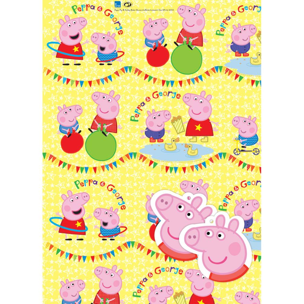 Peppa Pig Gift Wrap And Card Set NEW