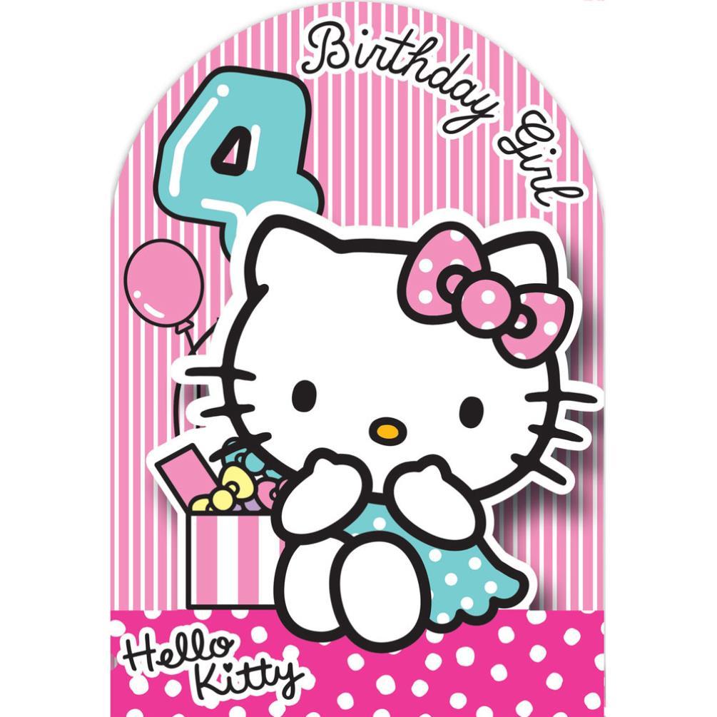 4th Birthday 3D Stand Up Hello Kitty Birthday Card (235128