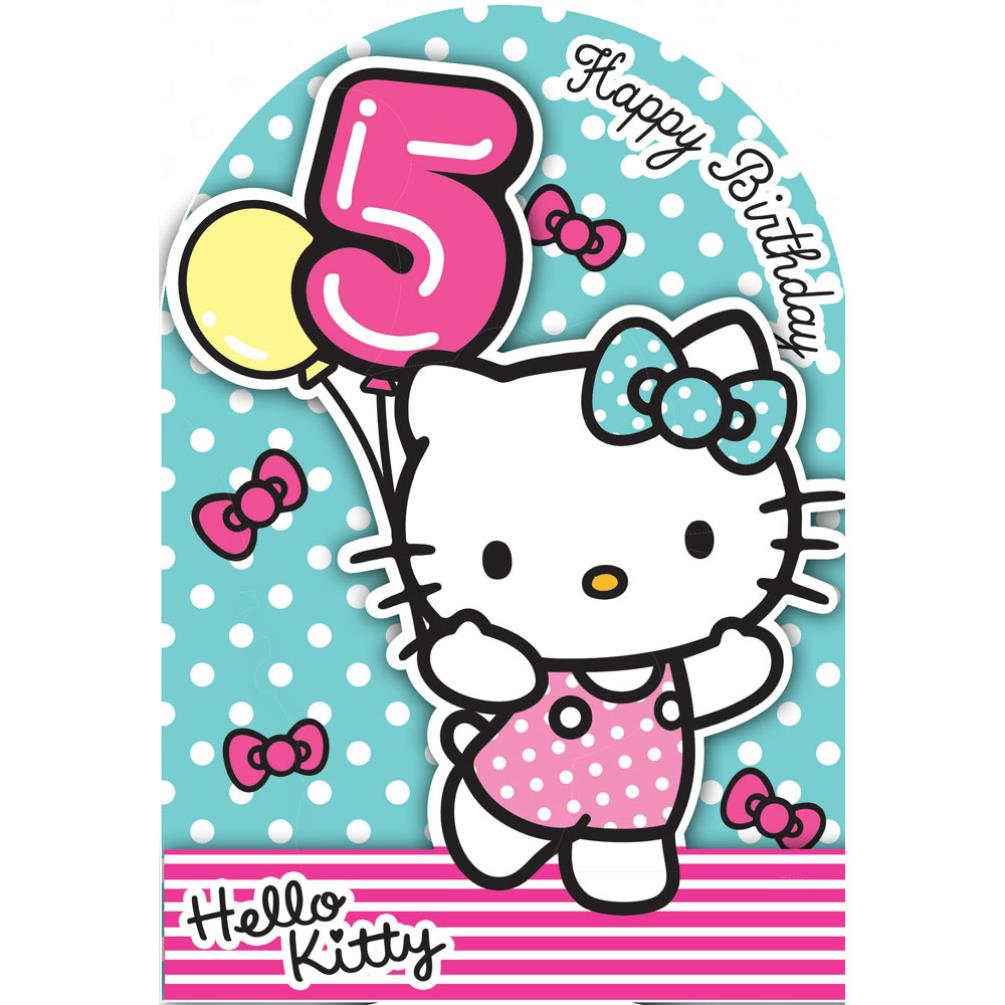 5th birthday 3d stand up hello kitty birthday card 235135. Black Bedroom Furniture Sets. Home Design Ideas