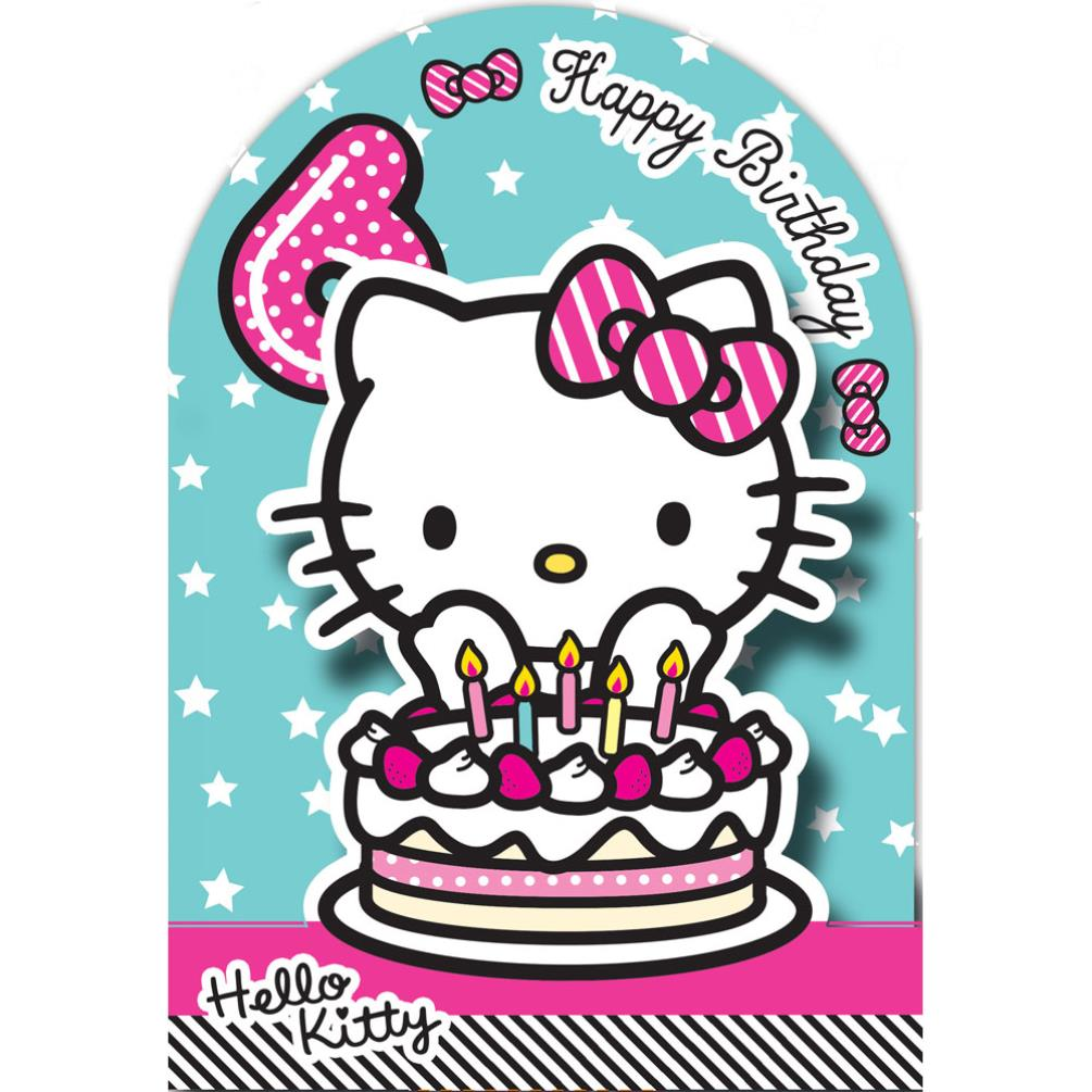 6th birthday 3d stand up hello kitty birthday card 235142. Black Bedroom Furniture Sets. Home Design Ideas