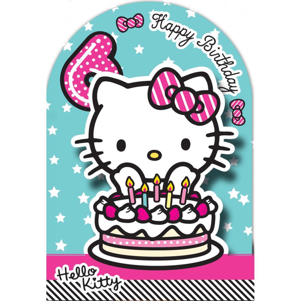 6th Birthday 3D Stand Up Hello Kitty Birthday Card (235142