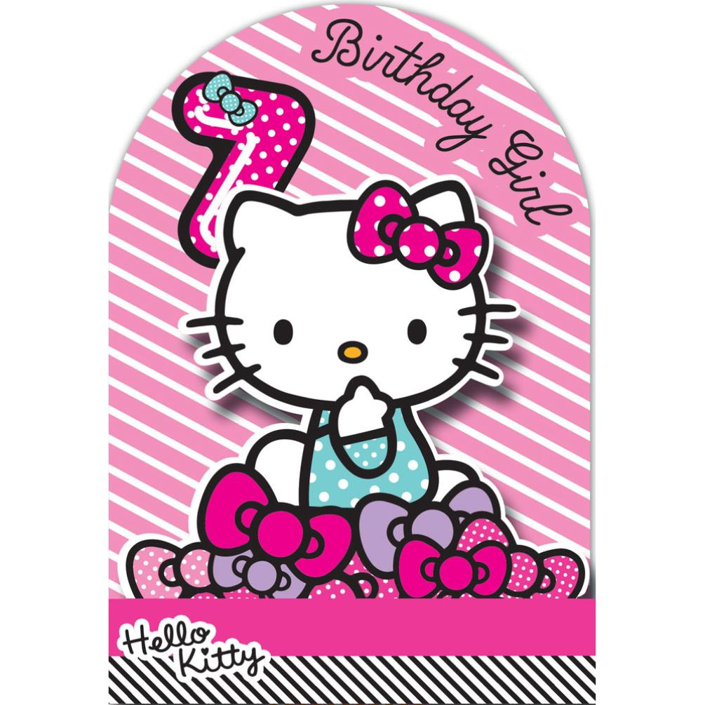 7th Birthday 3D Stand Up Hello Kitty Card 210