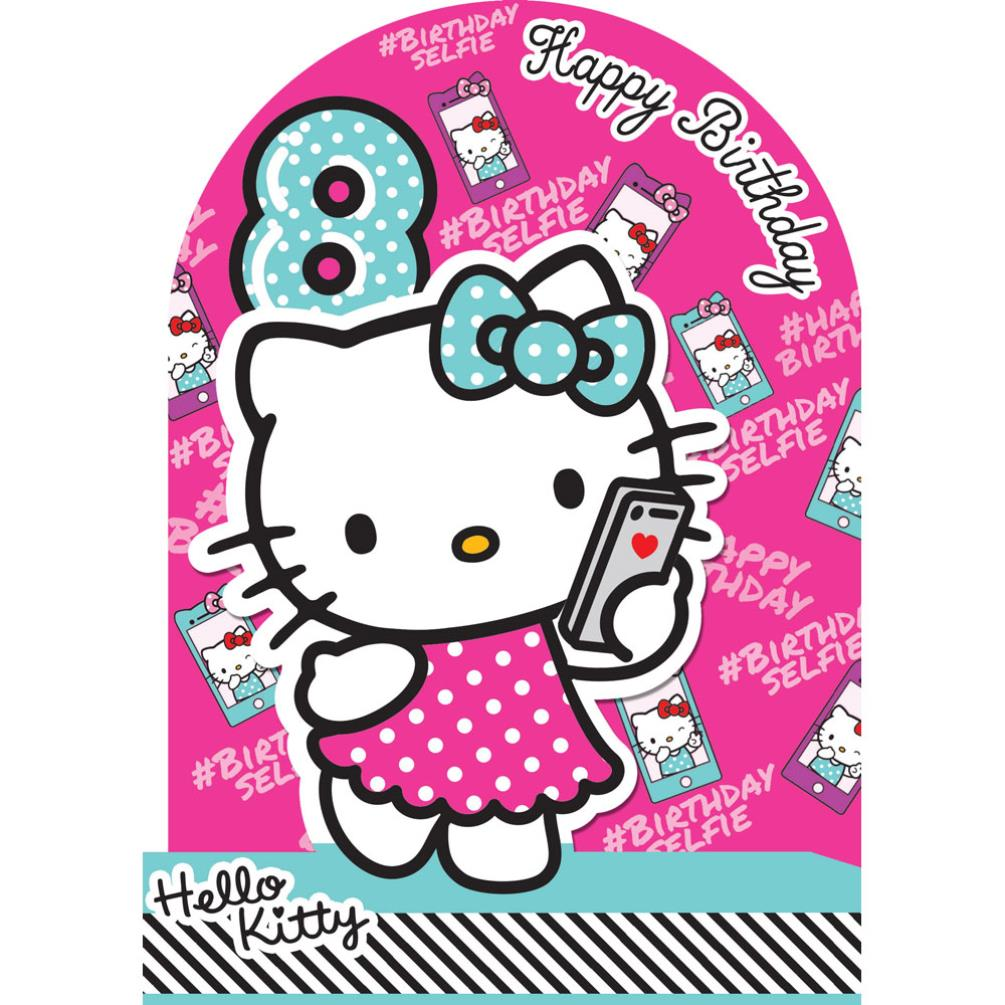 8th Birthday 3D Stand Up Hello Kitty Card 210