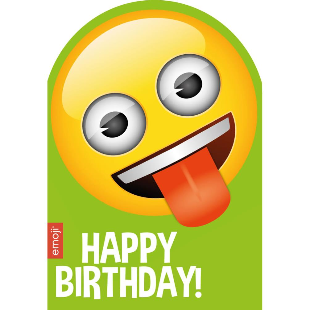 Smiley Tongue Happy Birthday Emoji Card 199