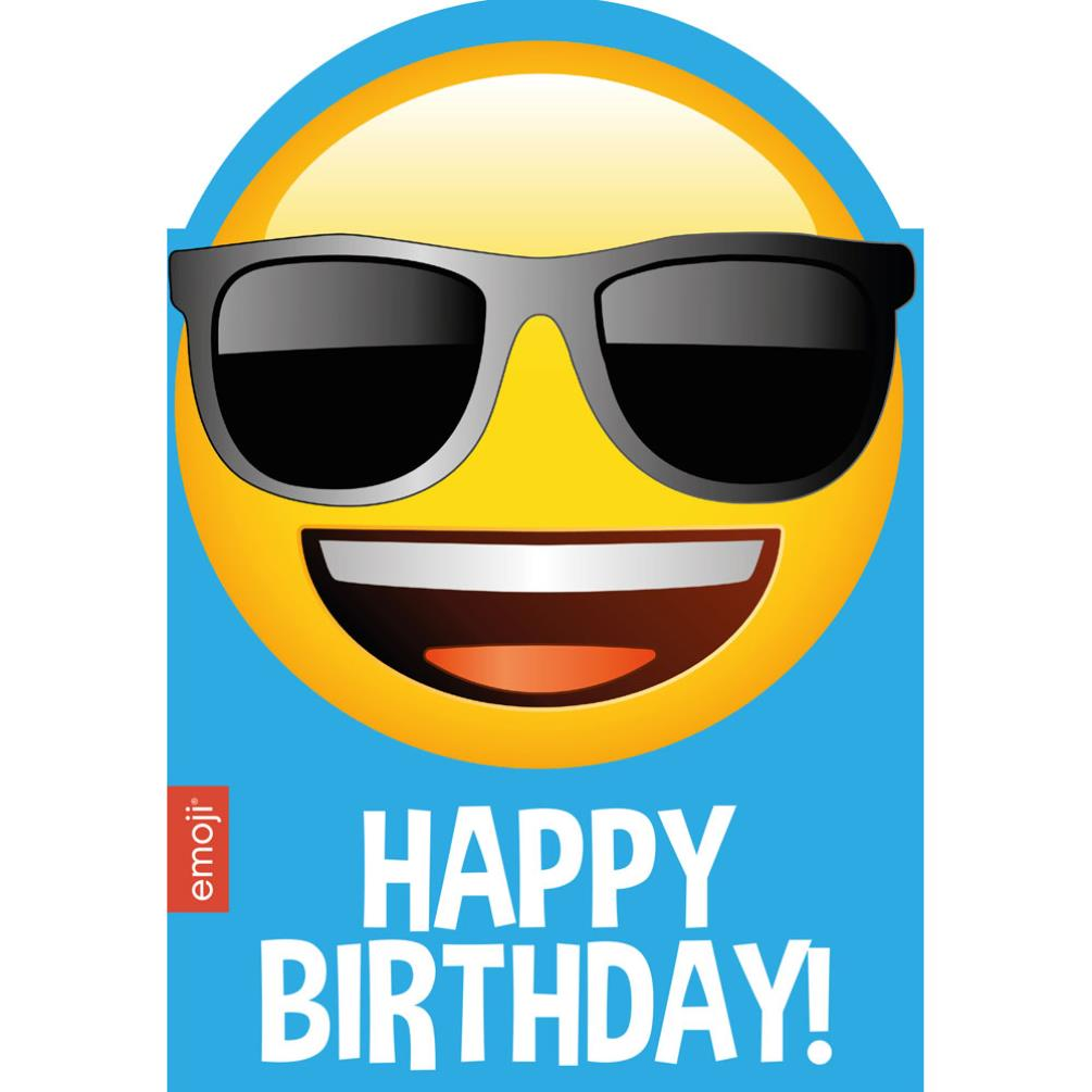 Smiley Shades Happy Birthday Emoji Birthday Card 241594