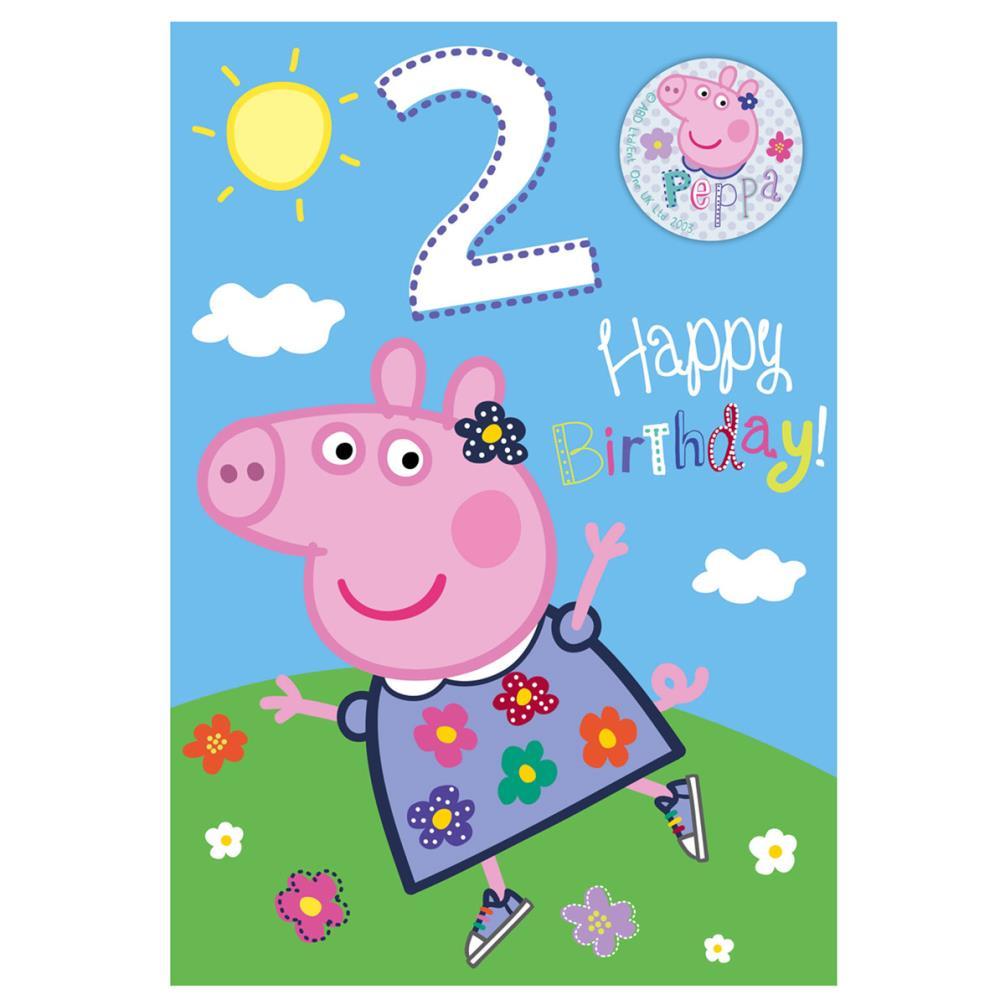 2nd Birthday Peppa Pig Birthday Card With Badge