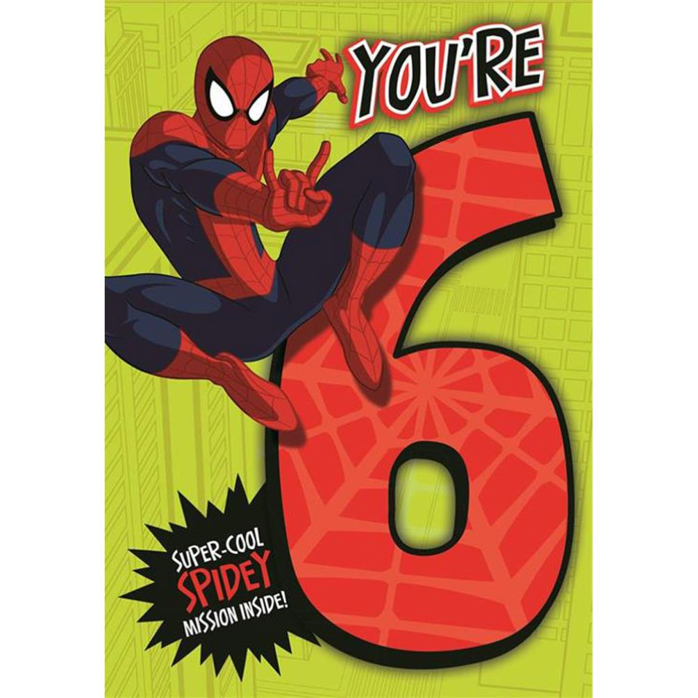 6th birthday marvel spiderman activity birthday card 185