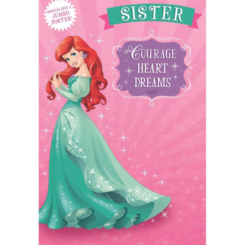 Sister Disney Princess Jumbo Poster Birthday Card