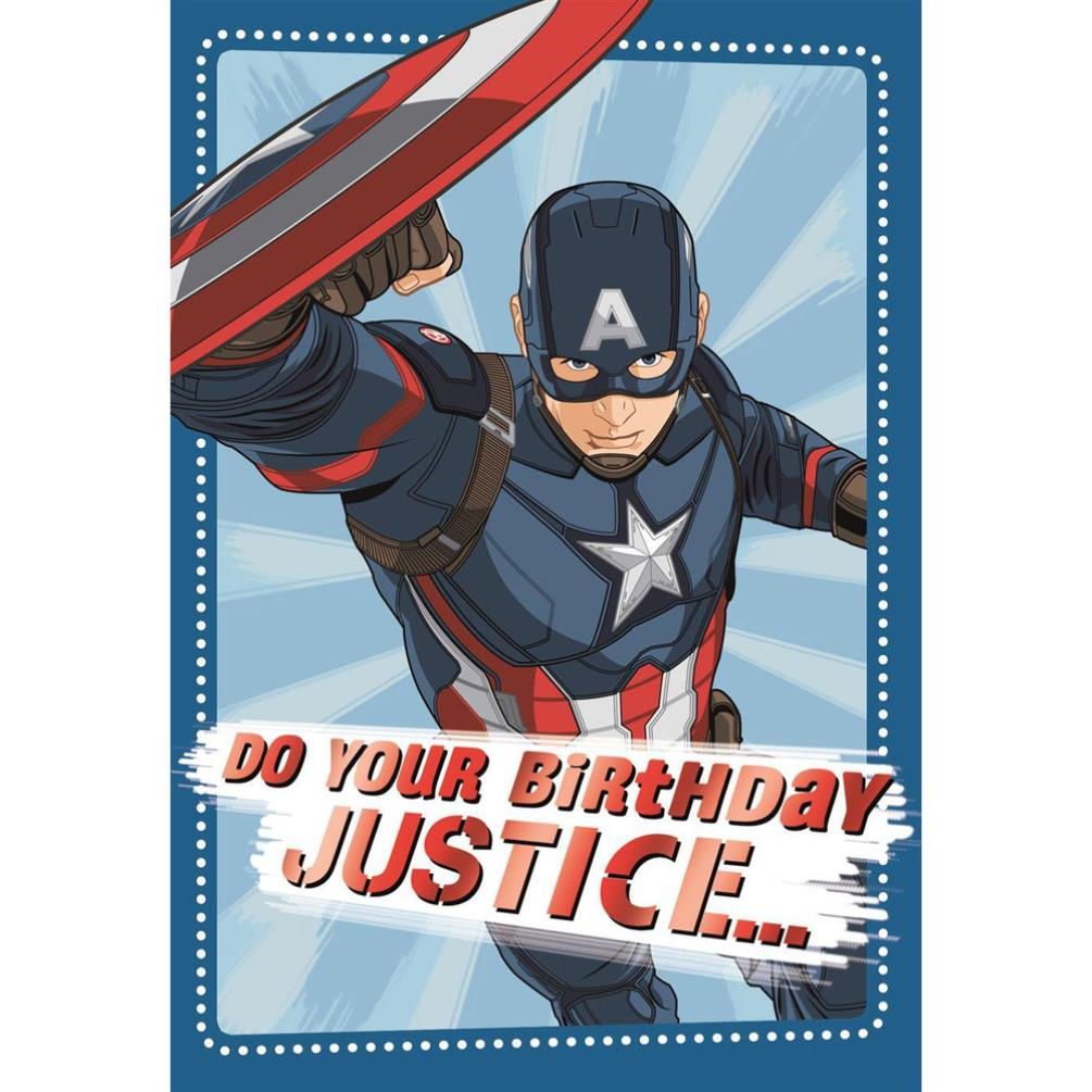 Do Your Birthday Justice Marvel Captain America Birthday Card