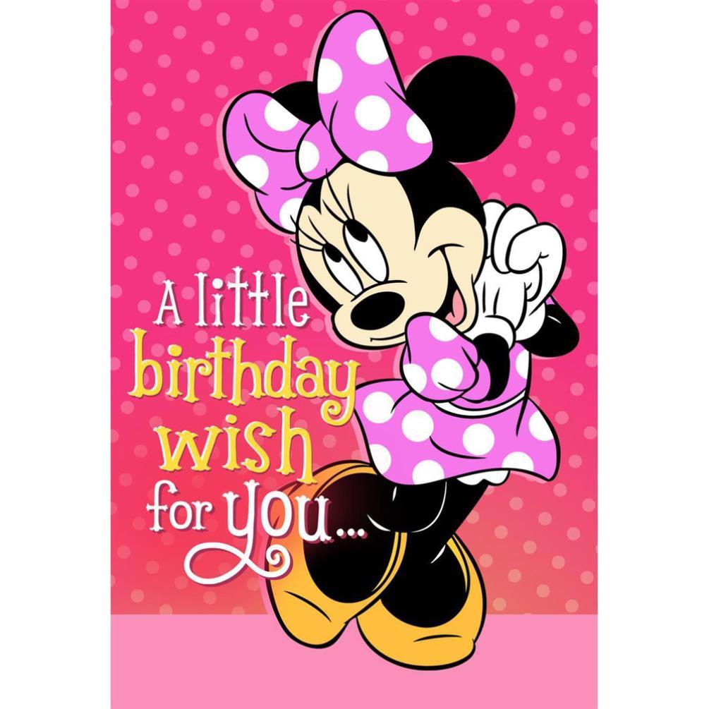Minnie Mouse Musical 1st Birthday Card: Birthday Wish Disney Minnie Mouse Birthday Card (25470196