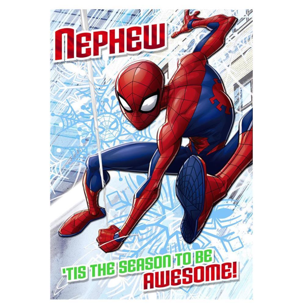 Spiderman Christmas.Nephew Spiderman Christmas Card