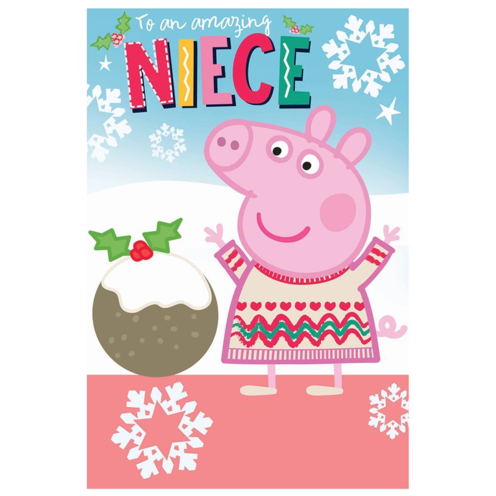 Peppa Pig Christmas.Amazing Niece Peppa Pig Christmas Card