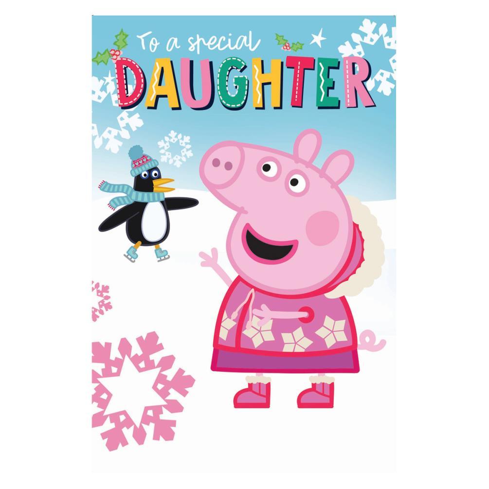 Peppa Pig Christmas.Special Daughter Peppa Pig Christmas Card