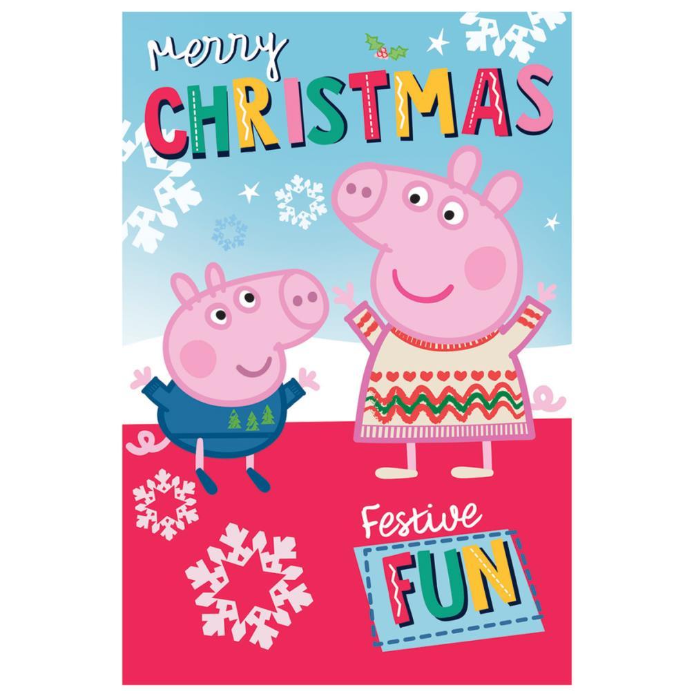 Peppa Pig Christmas.Merry Christmas Peppa Pig Christmas Card