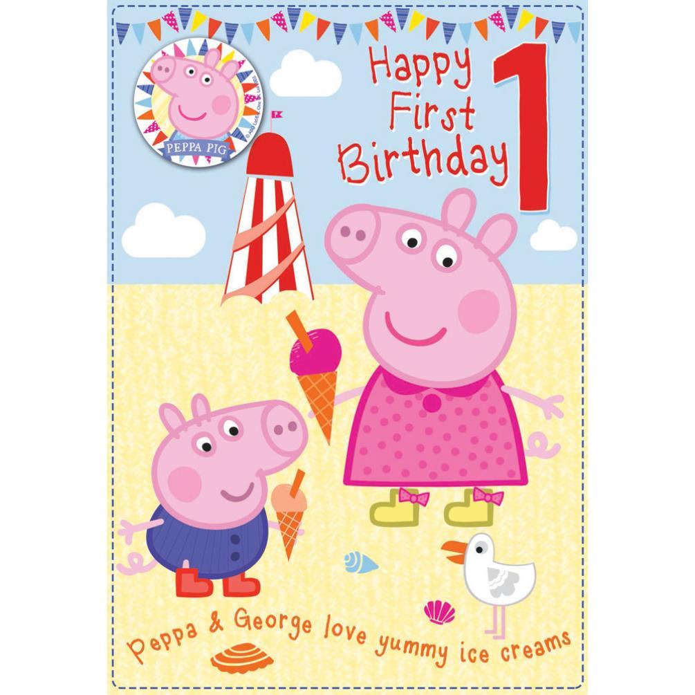 Peppa Pig Greeting Birthday Cards – Happy 1st Birthday Card