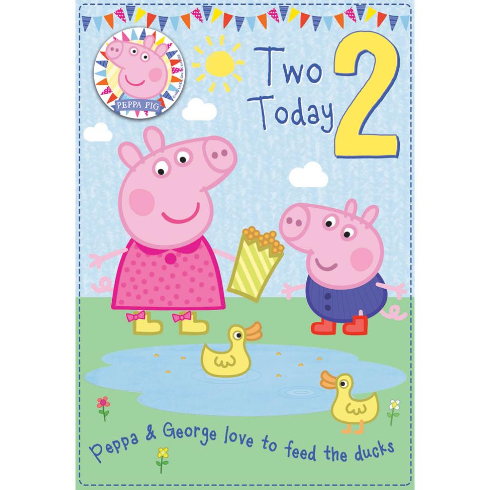 2 Today Peppa Pig Birthday Card With Badge