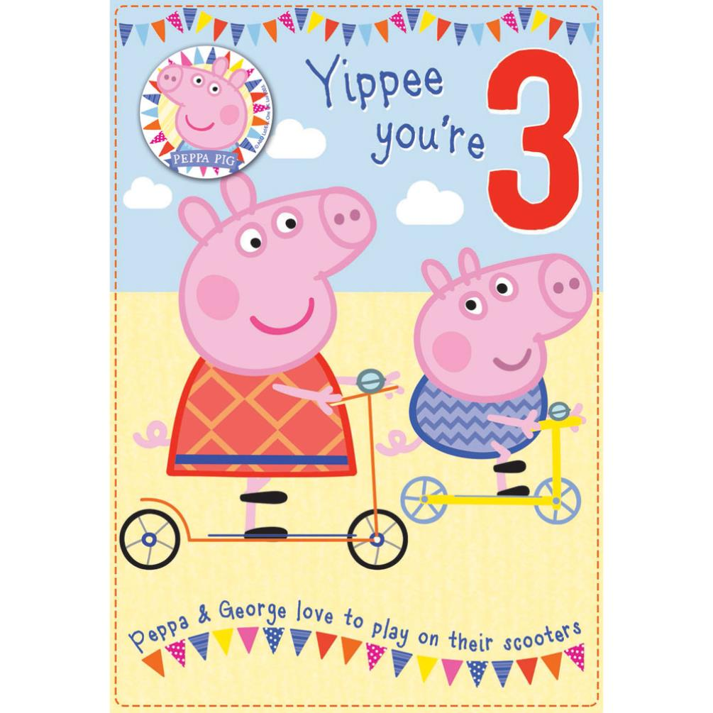 3rd Birthday Peppa Pig Birthday Card With Badge