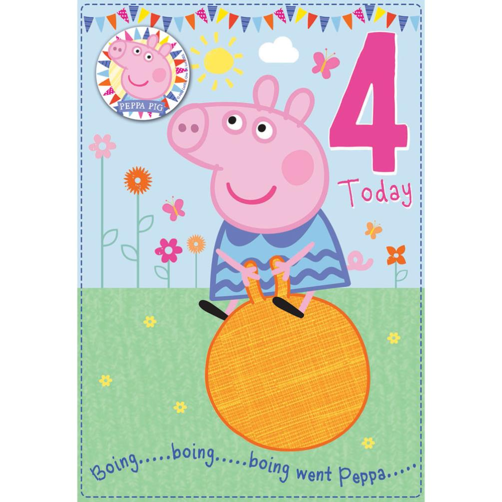 4 today peppa pig birthday card with badge 300666 character brands