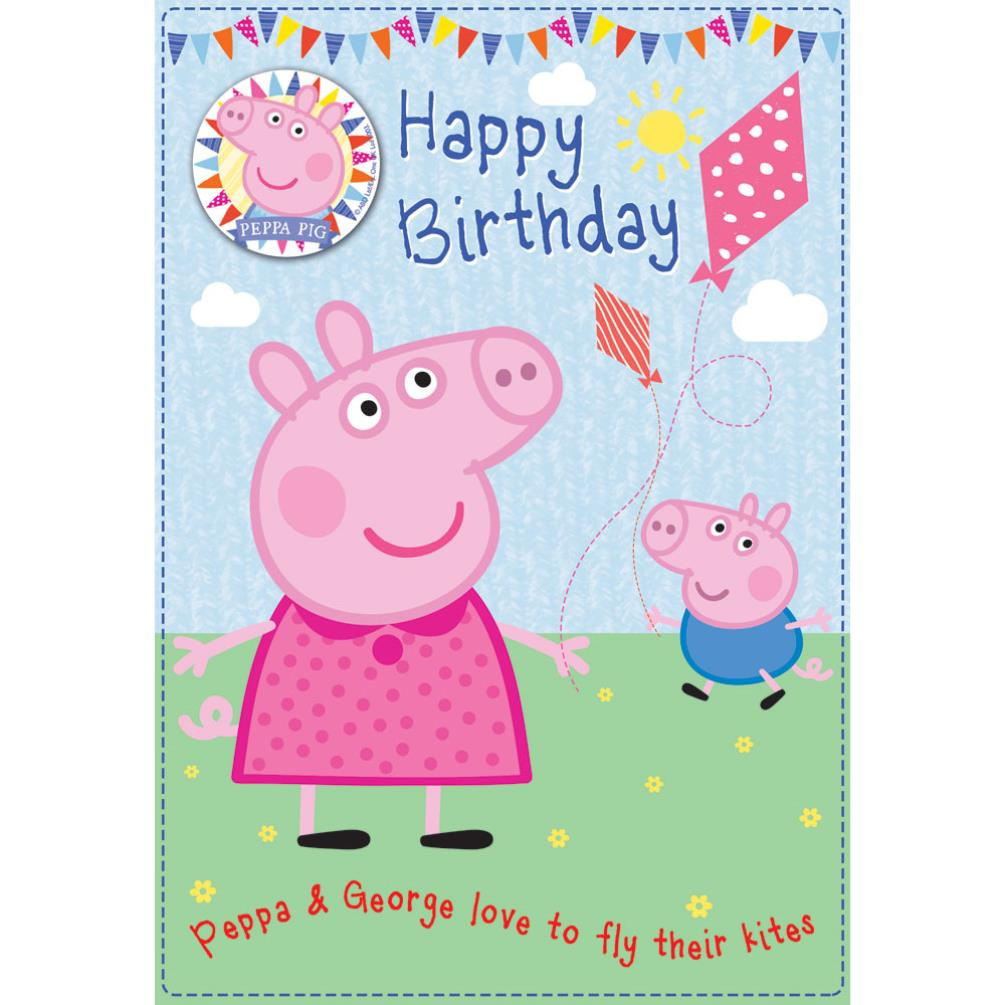 Flying Kites Peppa Pig Birthday Card With Badge