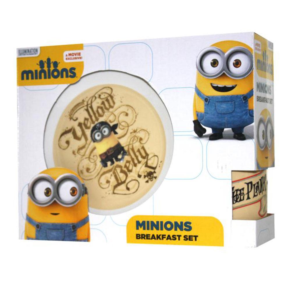 Yellow Belly Minions Pirate 3 Piece Breakfast Set