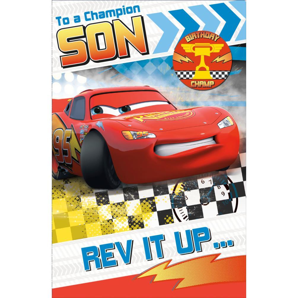 Champion Son Disney Cars Birthday Card With Badge 299