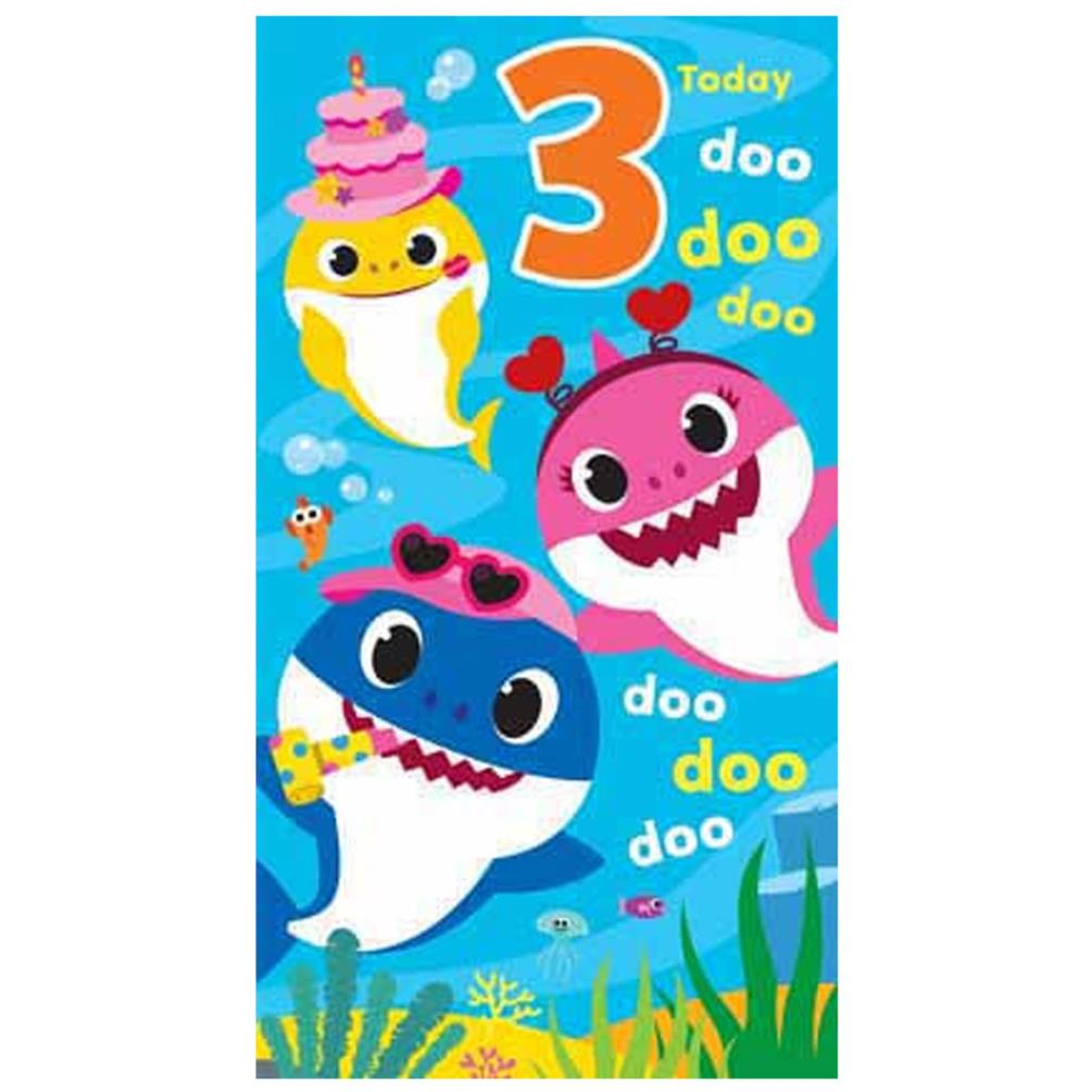 3 Today Baby Shark 3rd Birthday Card Bs013 Character Brands