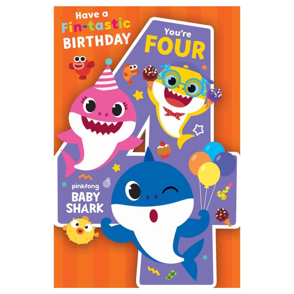 Baby Shark Shaped 4th Birthday Card (BS018)