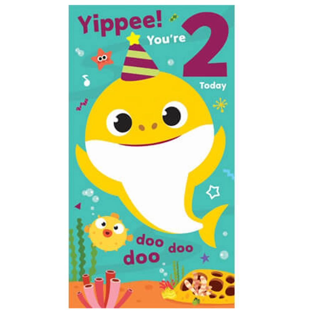 2 today baby shark 2nd birthday card bs026  character
